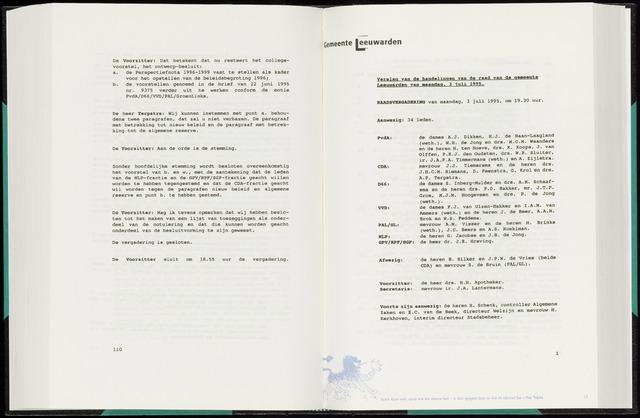 Raadsverslagen van de gemeente Leeuwarden, 1865-2007 (Notulen) 1995-07-03