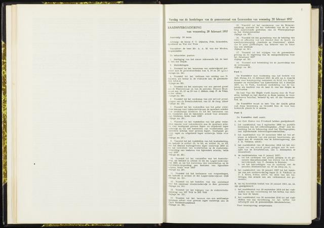 Raadsverslagen van de gemeente Leeuwarden, 1865-2007 (Notulen) 1957-02-20
