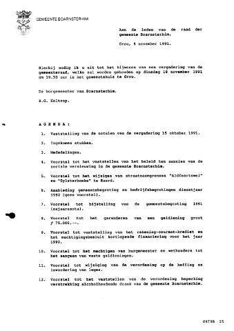 Boarnsterhim vergaderstukken gemeenteraad  1991-11-19