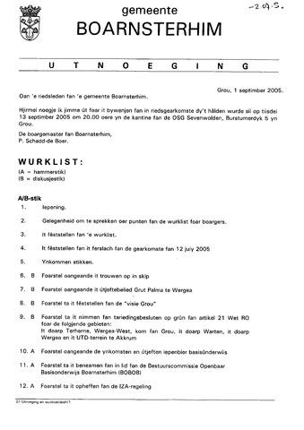 Boarnsterhim vergaderstukken gemeenteraad  2005-09-13