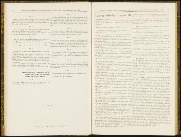 Raadsverslagen van de gemeente Leeuwarden, 1865-2007 (Notulen) 1891-08-11