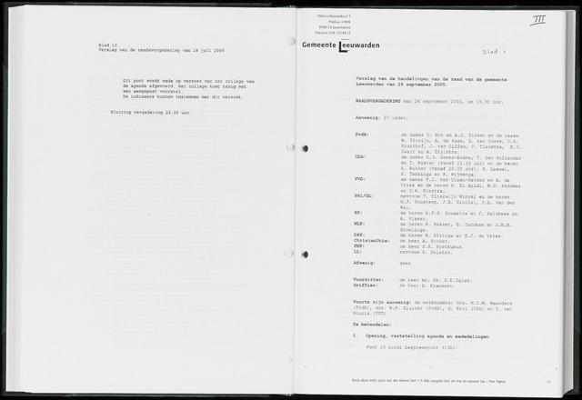 Raadsverslagen van de gemeente Leeuwarden, 1865-2007 (Notulen) 2005-09-26