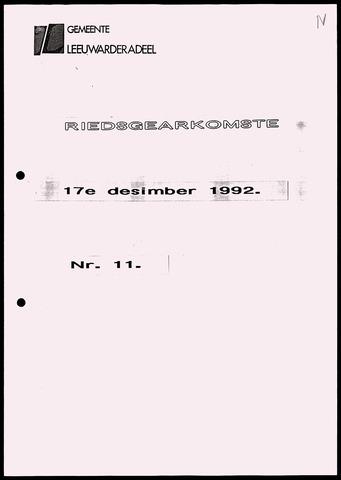 Notulen van de gemeenteraad van Leeuwarderadeel 1992-12-17