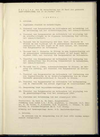 Notulen van de gemeenteraad van Leeuwarderadeel 1954-09-16