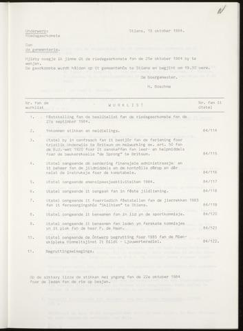 Notulen van de gemeenteraad van Leeuwarderadeel 1984-10-25