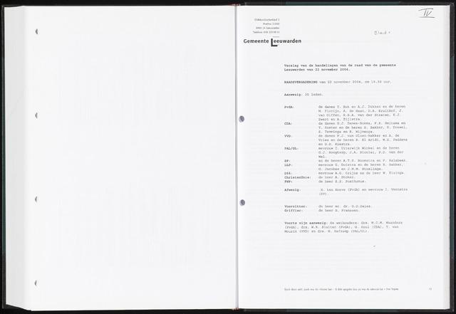 Raadsverslagen van de gemeente Leeuwarden, 1865-2007 (Notulen) 2004-11-22