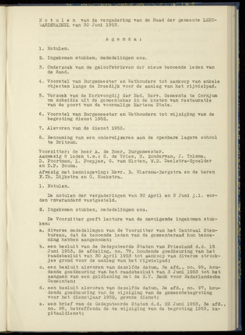 Notulen van de gemeenteraad van Leeuwarderadeel 1953-06-30