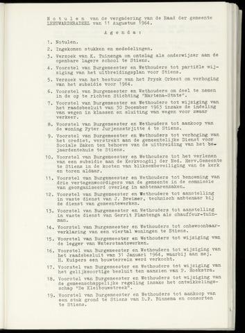Notulen van de gemeenteraad van Leeuwarderadeel 1964-08-11