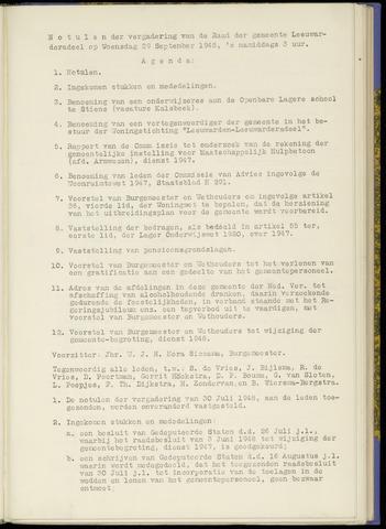 Notulen van de gemeenteraad van Leeuwarderadeel 1948-09-29