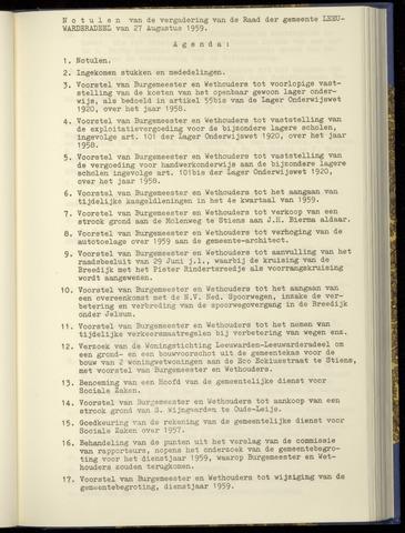Notulen van de gemeenteraad van Leeuwarderadeel 1959-08-27