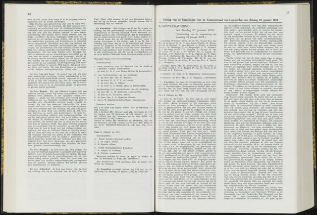 Raadsverslagen van de gemeente Leeuwarden, 1865-2007 (Notulen) 1970-01-27