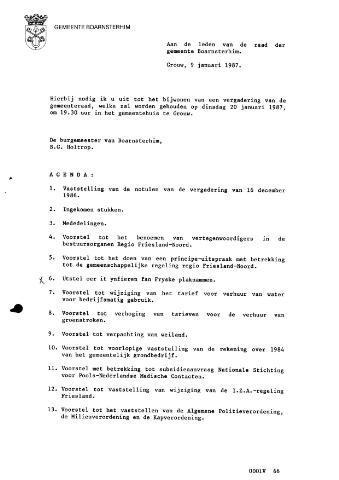 Boarnsterhim vergaderstukken gemeenteraad  1987-01-20