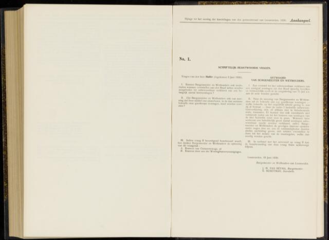 Raadsverslagen van de gemeente Leeuwarden, 1865-2007 (Schriftelijke vragen) 1930-01-01