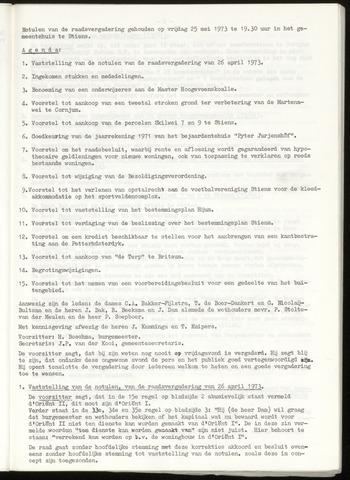 Notulen van de gemeenteraad van Leeuwarderadeel 1973-05-25