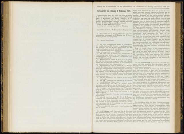 Raadsverslagen van de gemeente Leeuwarden, 1865-2007 (Notulen) 1909-11-09