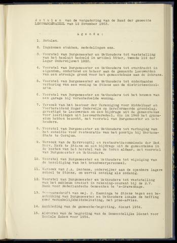 Notulen van de gemeenteraad van Leeuwarderadeel 1953-11-12
