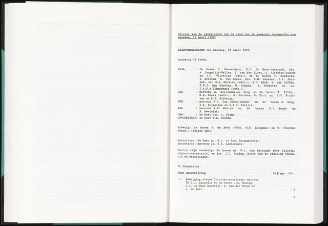 Raadsverslagen van de gemeente Leeuwarden, 1865-2007 (Notulen) 1990-03-12