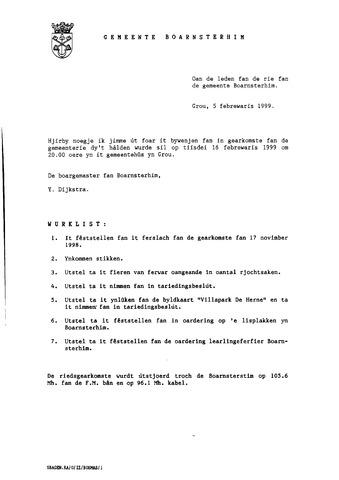 Boarnsterhim vergaderstukken gemeenteraad  1999-02-16
