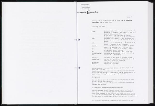 Raadsverslagen van de gemeente Leeuwarden, 1865-2007 (Notulen) 2007-06-25