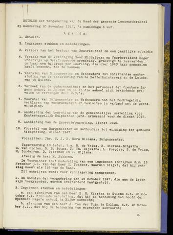 Notulen van de gemeenteraad van Leeuwarderadeel 1947-11-20