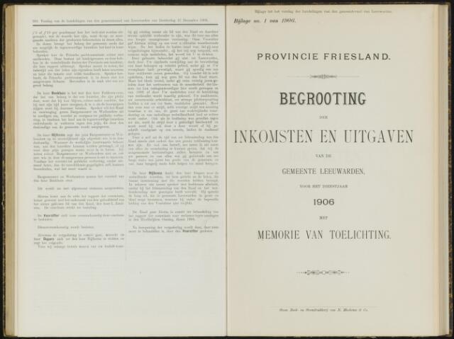 Raadsverslagen van de gemeente Leeuwarden, 1865-2007 (Bijlagen) 1906-01-01