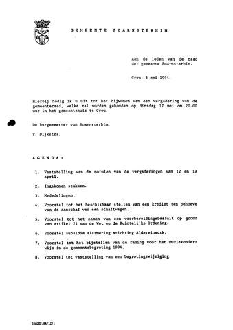 Boarnsterhim vergaderstukken gemeenteraad  1994-05-17