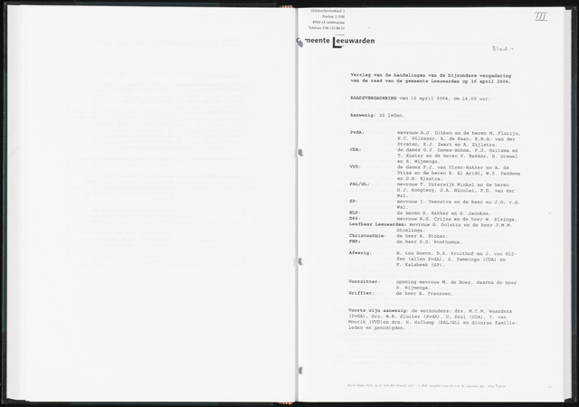 Raadsverslagen van de gemeente Leeuwarden, 1865-2007 (Notulen) 2004-04-16