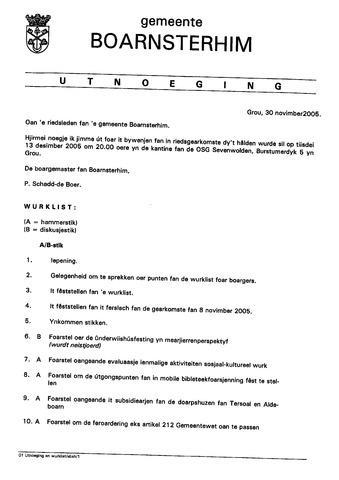Boarnsterhim vergaderstukken gemeenteraad  2005-12-13
