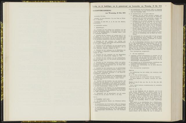 Raadsverslagen van de gemeente Leeuwarden, 1865-2007 (Notulen) 1953-05-20