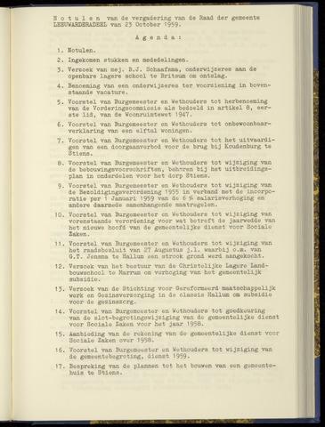 Notulen van de gemeenteraad van Leeuwarderadeel 1959-10-23