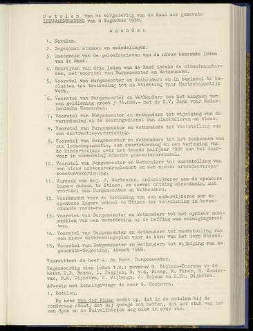 Notulen van de gemeenteraad van Leeuwarderadeel 1958-08-08