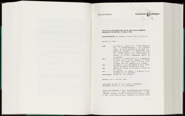 Raadsverslagen van de gemeente Leeuwarden, 1865-2007 (Notulen) 1993-04-26