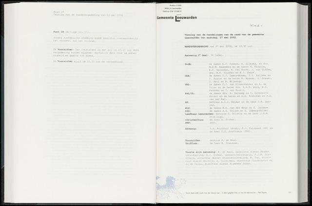 Raadsverslagen van de gemeente Leeuwarden, 1865-2007 (Notulen) 2002-05-27