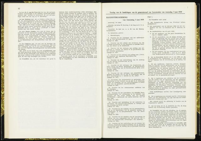 Raadsverslagen van de gemeente Leeuwarden, 1865-2007 (Notulen) 1959-06-03