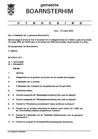 Boarnsterhim vergaderstukken gemeenteraad  2004-05-18