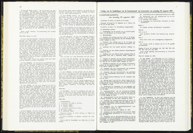 Raadsverslagen van de gemeente Leeuwarden, 1865-2007 (Notulen) 1967-08-28