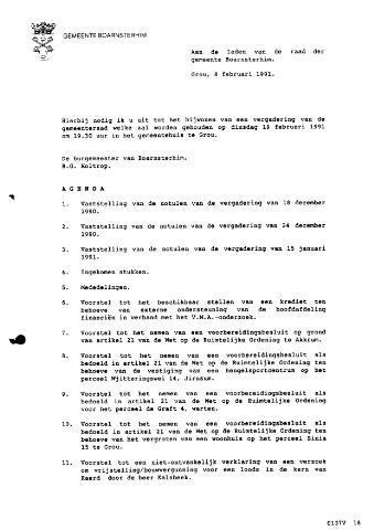 Boarnsterhim vergaderstukken gemeenteraad  1991-02-19