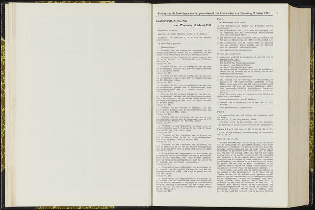 Raadsverslagen van de gemeente Leeuwarden, 1865-2007 (Notulen) 1954-03-10