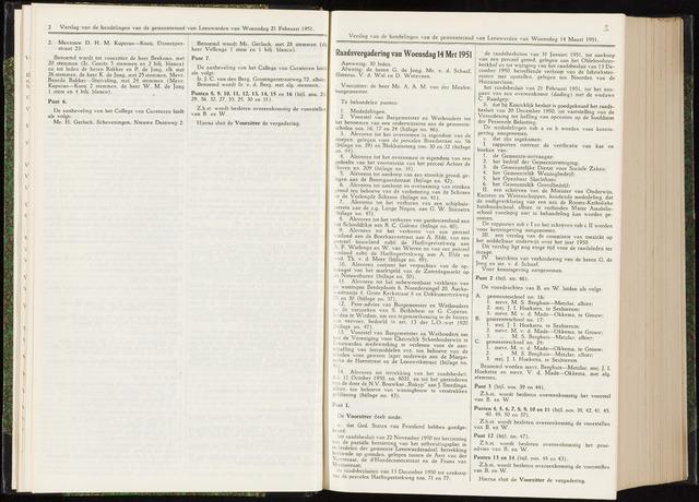 Raadsverslagen van de gemeente Leeuwarden, 1865-2007 (Notulen) 1951-03-14