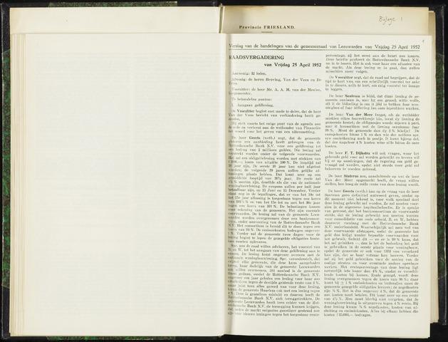 Raadsverslagen van de gemeente Leeuwarden, 1865-2007 (Notulen) 1952-04-25