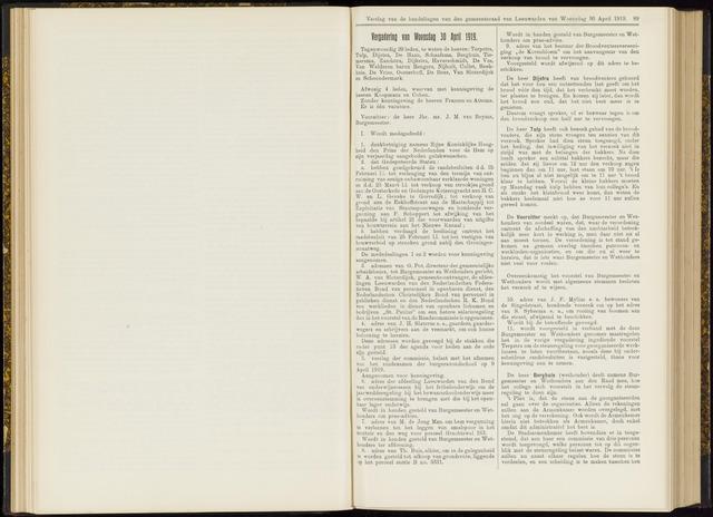 Raadsverslagen van de gemeente Leeuwarden, 1865-2007 (Notulen) 1919-04-30