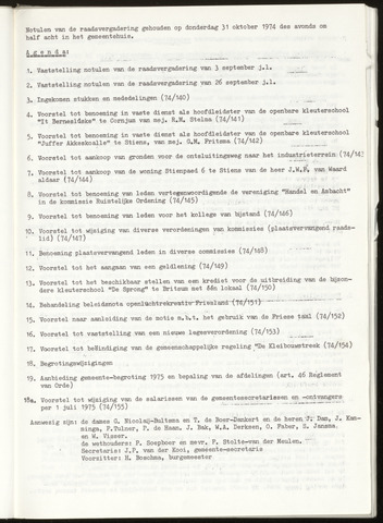 Notulen van de gemeenteraad van Leeuwarderadeel 1974-10-31