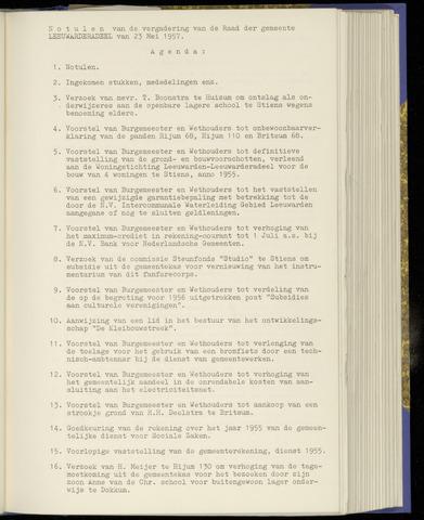 Notulen van de gemeenteraad van Leeuwarderadeel 1957-05-23