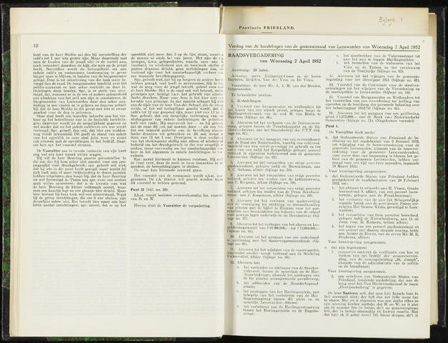 Raadsverslagen van de gemeente Leeuwarden, 1865-2007 (Notulen) 1952-04-02