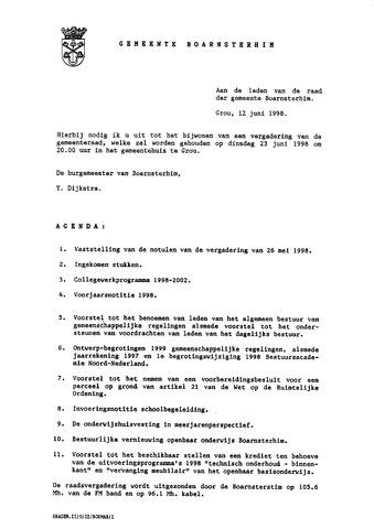 Boarnsterhim vergaderstukken gemeenteraad  1998-06-23