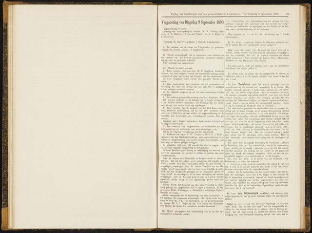 Raadsverslagen van de gemeente Leeuwarden, 1865-2007 (Notulen) 1890-09-09