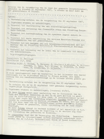 Notulen van de gemeenteraad van Leeuwarderadeel 1967-09-26