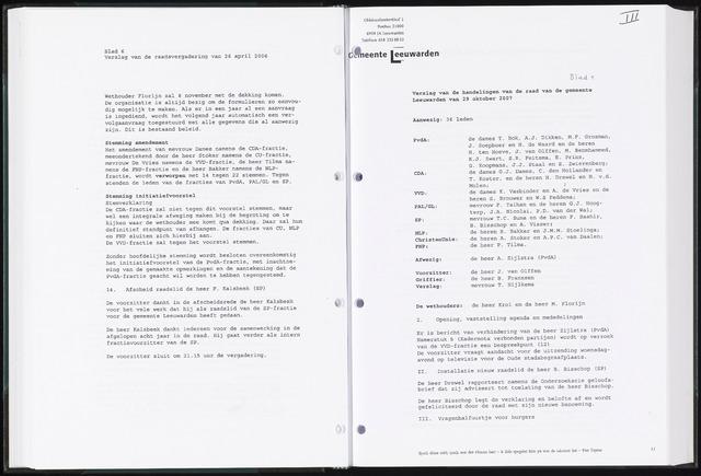 Raadsverslagen van de gemeente Leeuwarden, 1865-2007 (Notulen) 2007-10-29