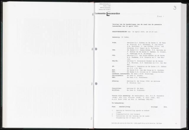 Raadsverslagen van de gemeente Leeuwarden, 1865-2007 (Notulen) 2003-04-14