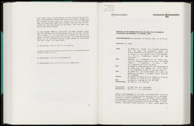 Raadsverslagen van de gemeente Leeuwarden, 1865-2007 (Notulen) 1994-10-10